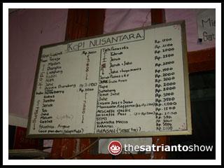 daftar menu kedai kopi manut nite